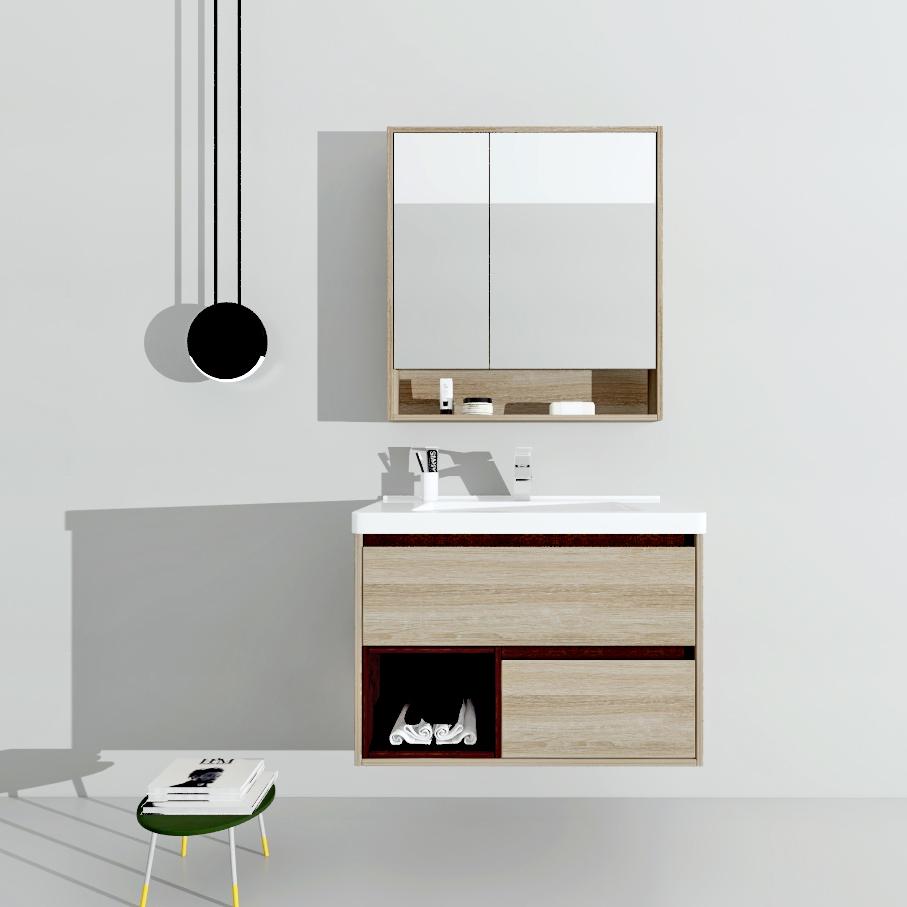 水鹿浴室柜水鹿优选浴室柜PY1608-4 北美橡木(搭配KVK 免开孔费)(购买浴室柜不含龙头和下水)
