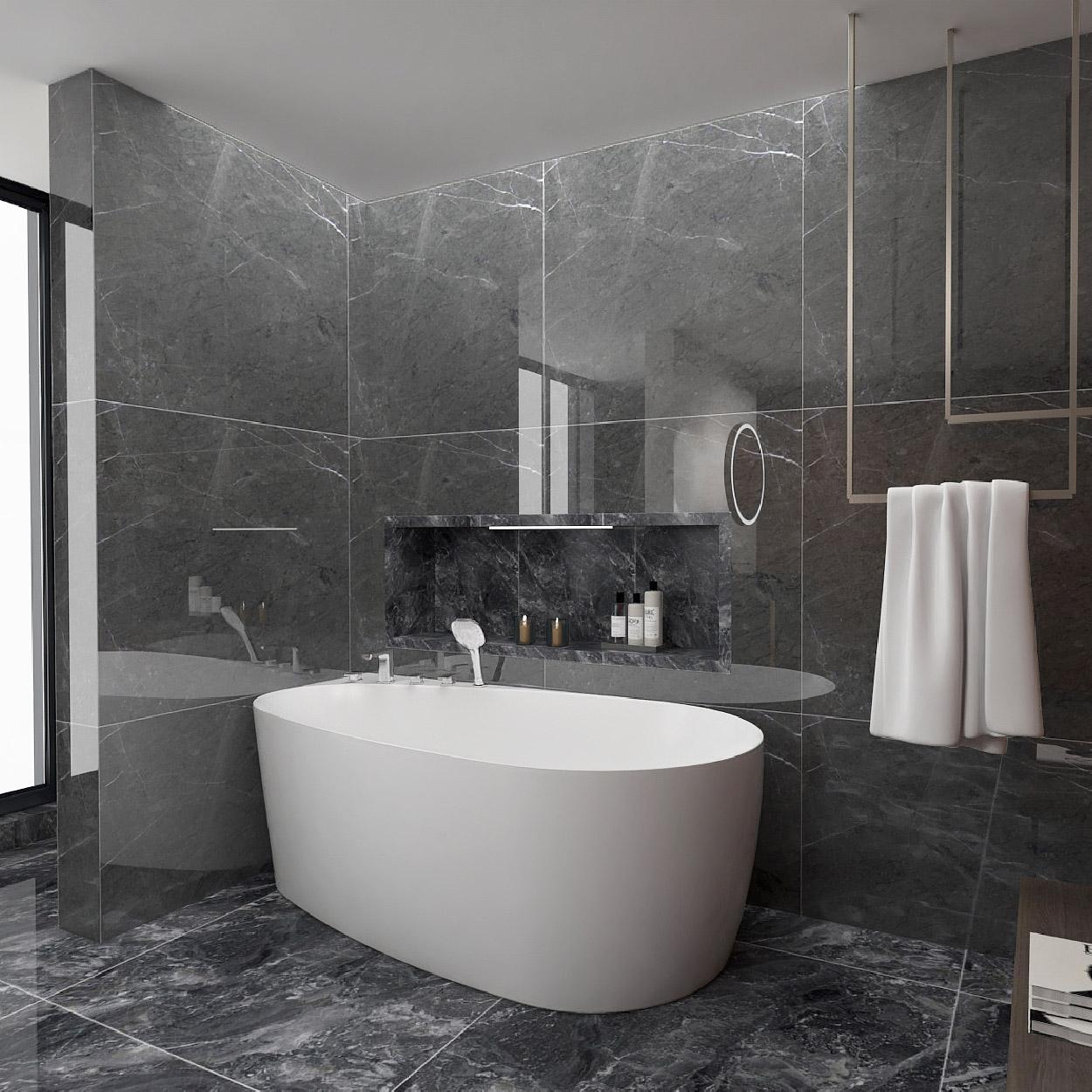 水鹿靠墙浴缸-大泡泡(包含缸边龙头)