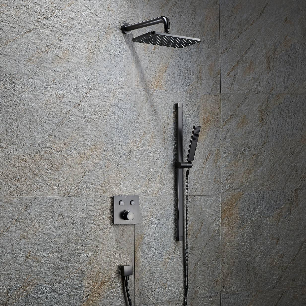 水鹿暗装淋浴系统-黑钻