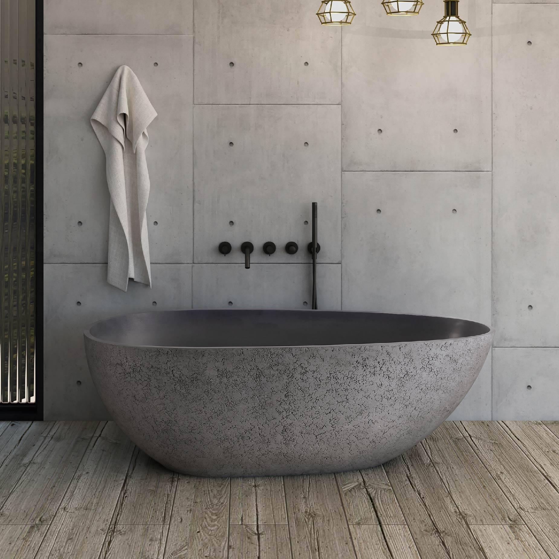 独立式水泥色人造石浴缸-灰蛋