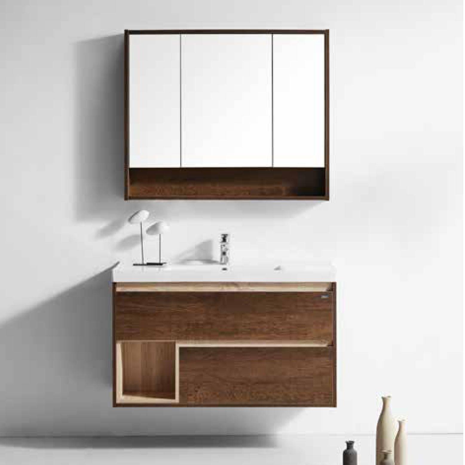 水鹿浴室柜 1610-4 北胡桃木色(购买浴室柜不含龙头和下水)