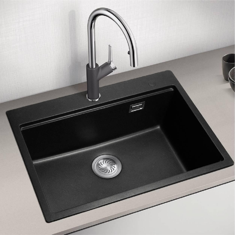 石英石黑色大单槽水槽-摩卡