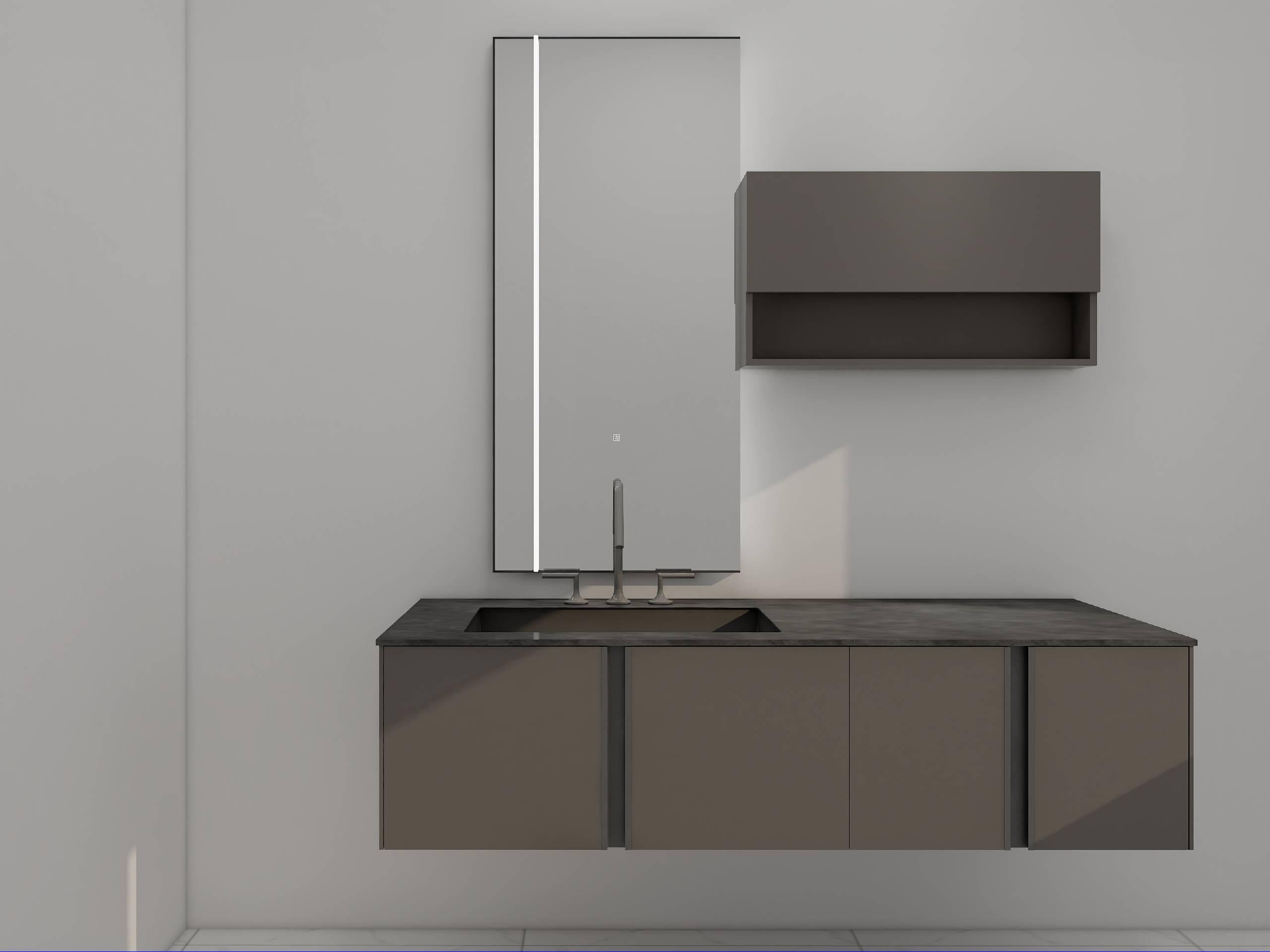 浴室柜Pomano波曼诺 PY28716(本款镜子已更换,新镜子型号PY29915-J,尺寸:600*55*1300)(定制交期图纸签字确认后60天) 购买浴室柜不含龙头与下水