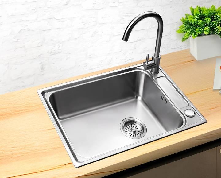 水鹿卫浴-厨房-水槽-680mm台上台下304不锈钢一体槽8526