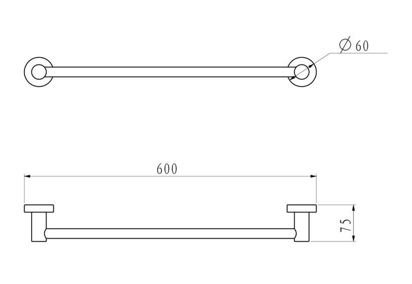水鹿卫浴-配件-挂件-伊奈同厂同款毛巾架单杆-锌合金+不锈钢