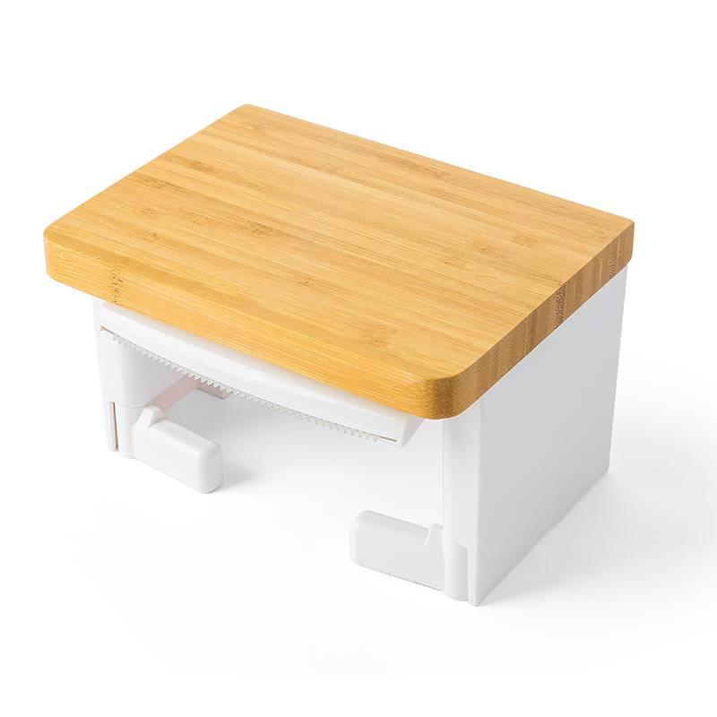 水鹿卫浴-配件-纸巾架-竹面白色单联纸巾架